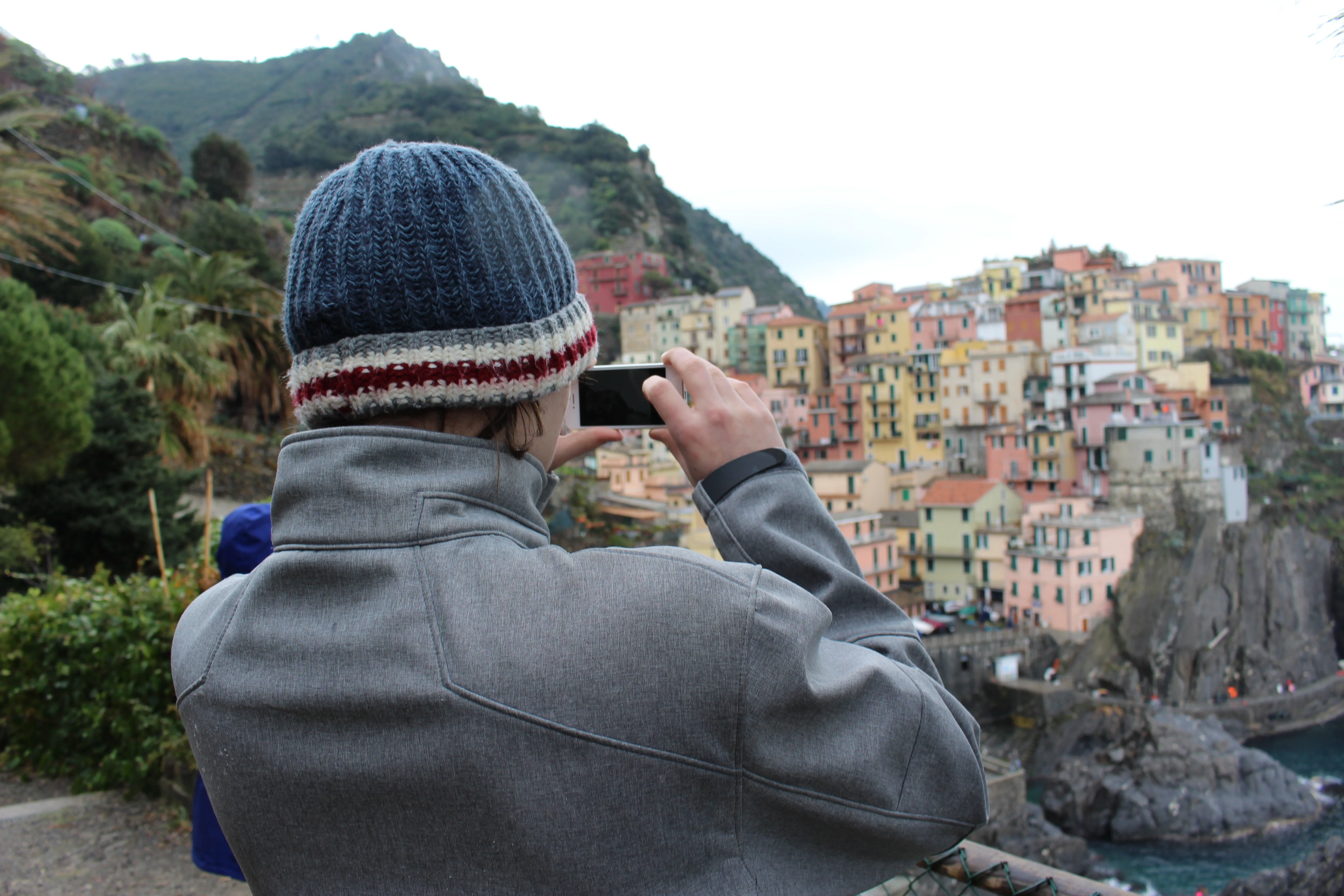 Student taking a picture of Cinque Terre