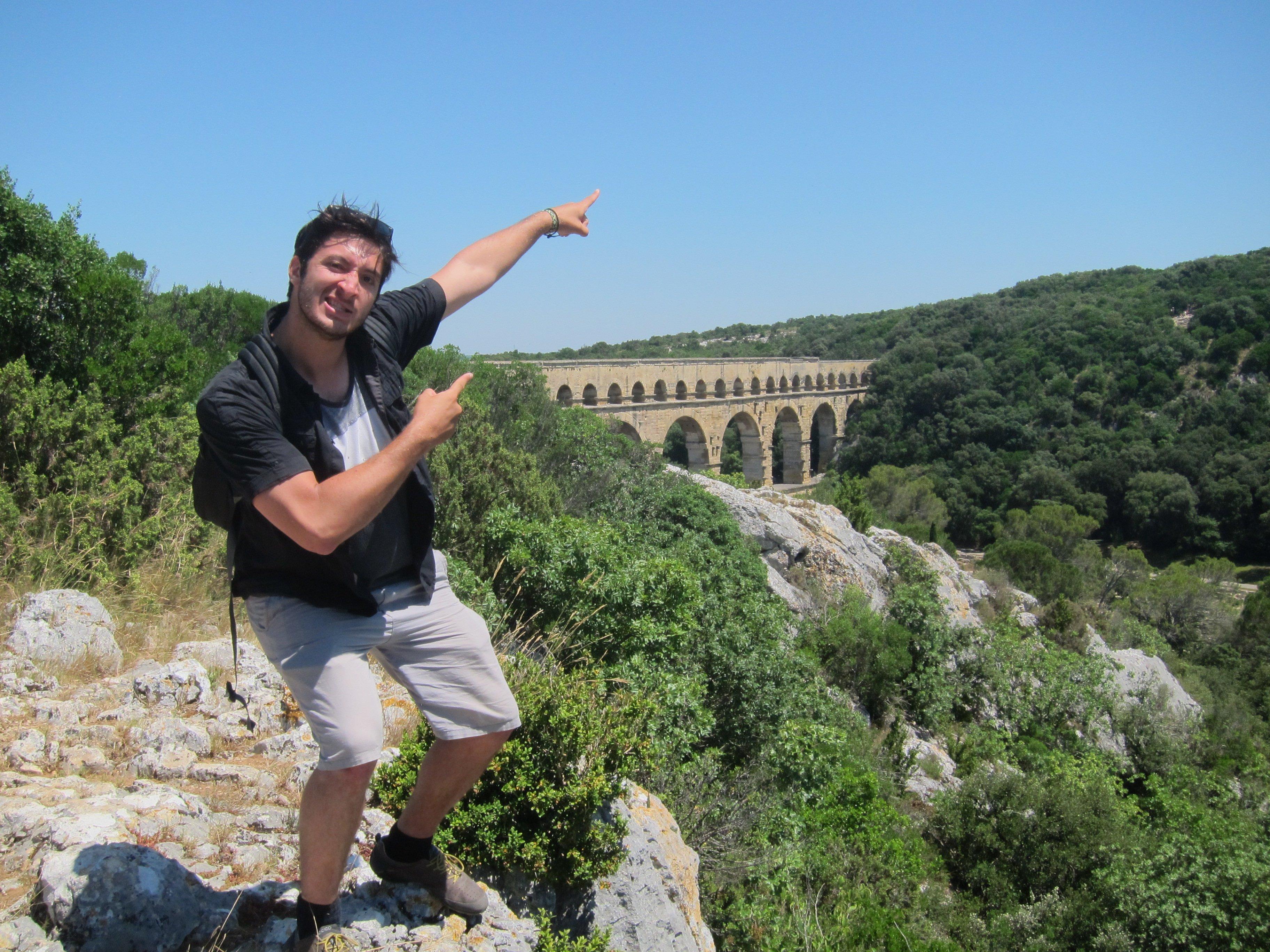 Student in front of Pont du Gard