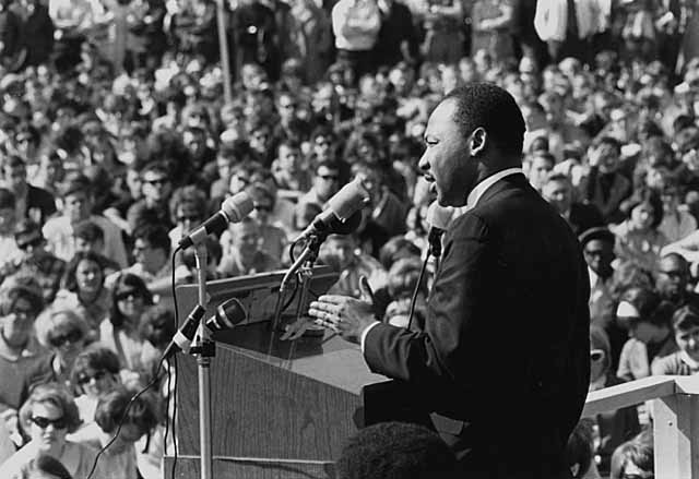 Martin Luther King doing a speech on St. Paul Campus