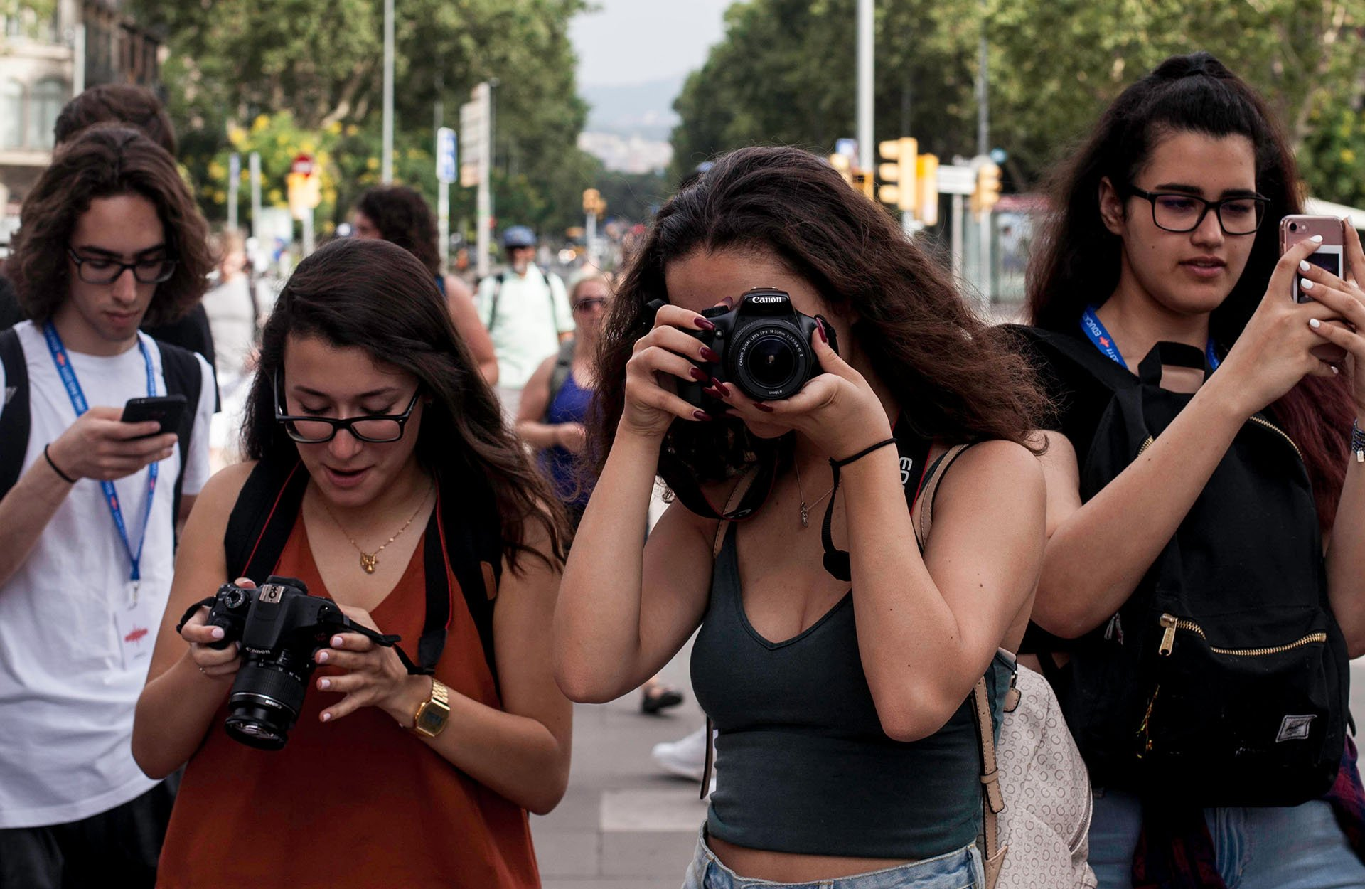 Students taking pictures on the Ramblas