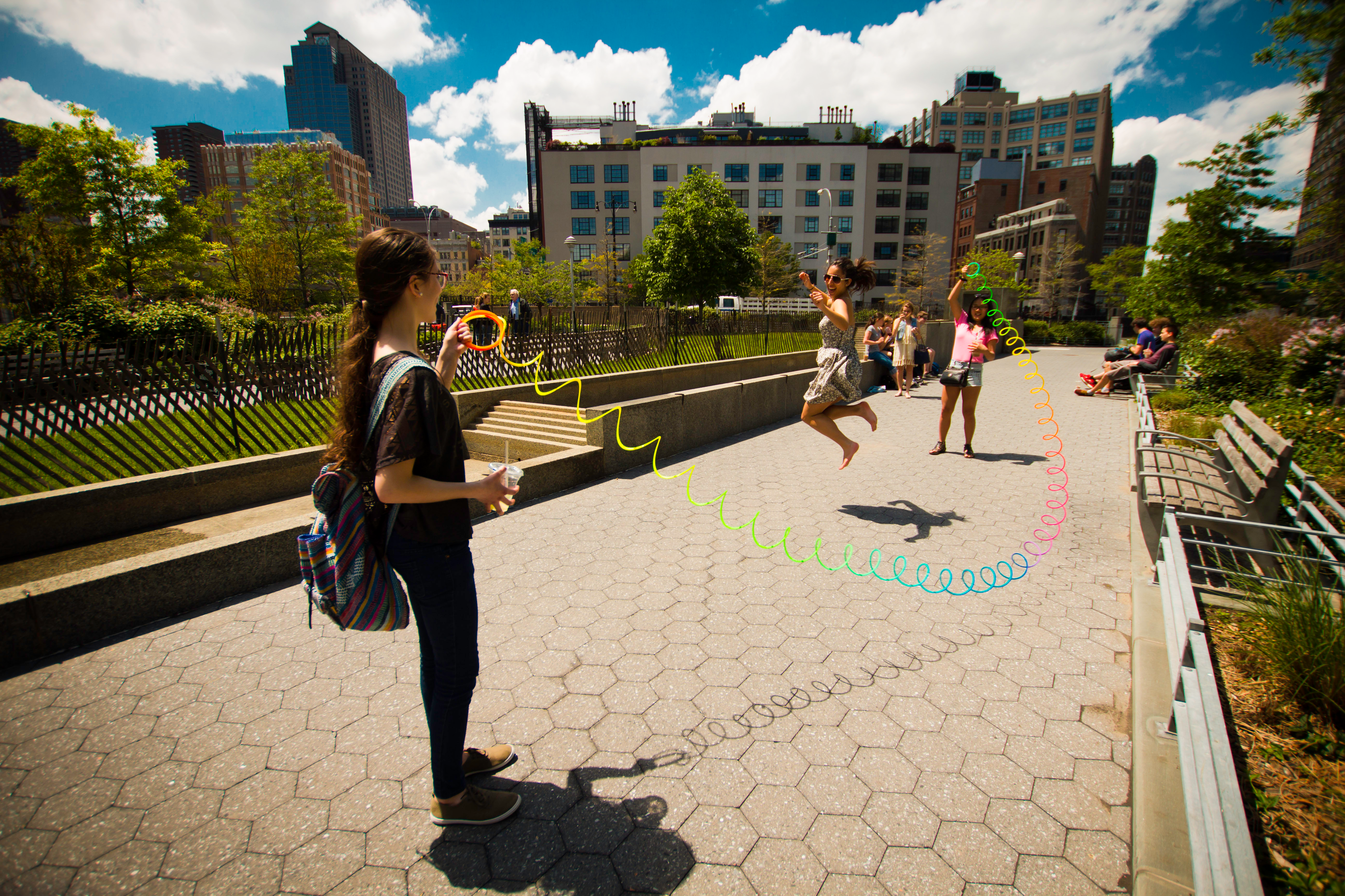 Students jump rope on the High Line in NYC