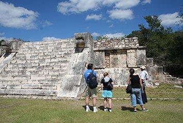 Students visiting Mayan ruins in Guatemela