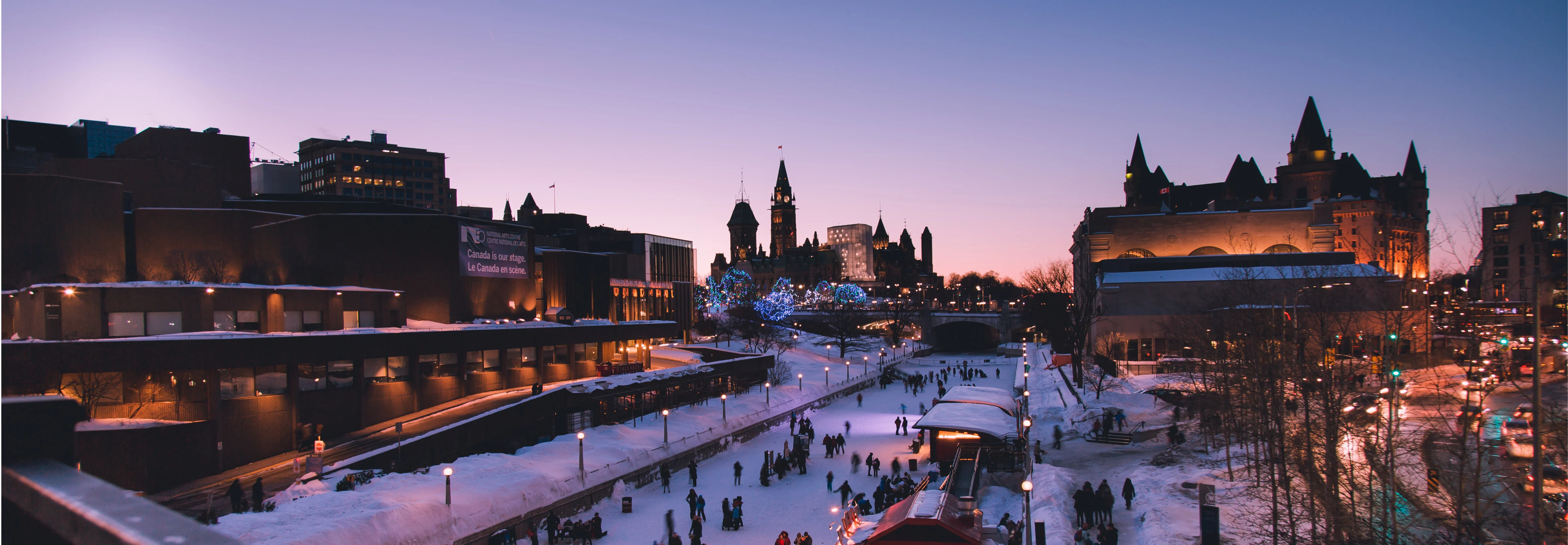 People skating on the Rideau Canal, in Ottawa.