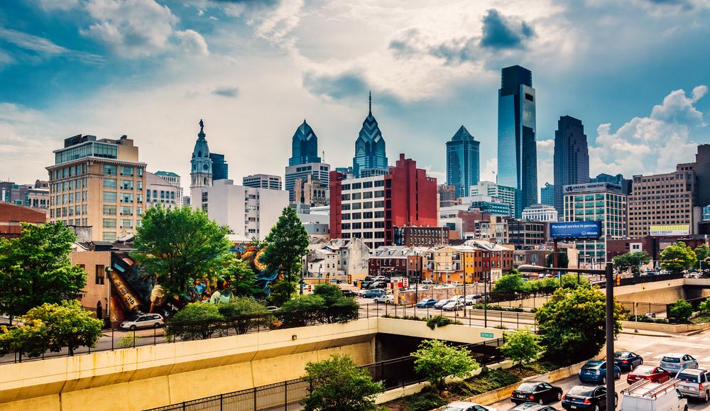View of the Philadelphia skyline from the Reading Viaduct, Philadelphia, Pennsylvania.