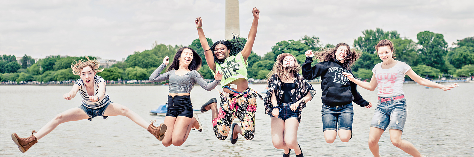 Students jumping in Washington D.C.