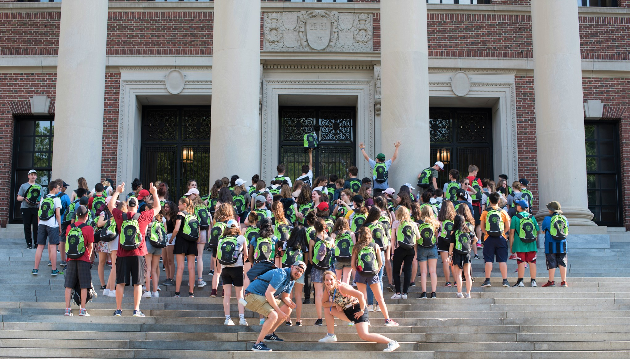 Group picture on the Harvard steps
